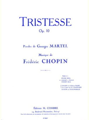Tristesse. Chant - CHOPIN - Partition - Mélodies - laflutedepan.com