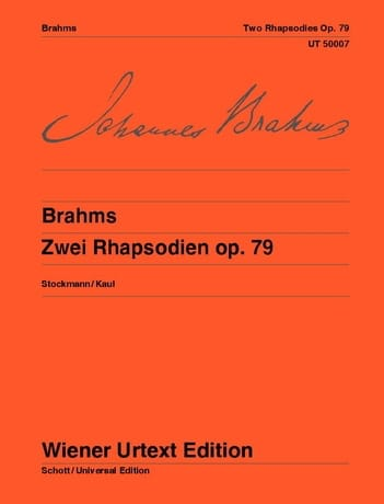 BRAHMS - 2 Rhapsodies Opus 79 - Partition - di-arezzo.es
