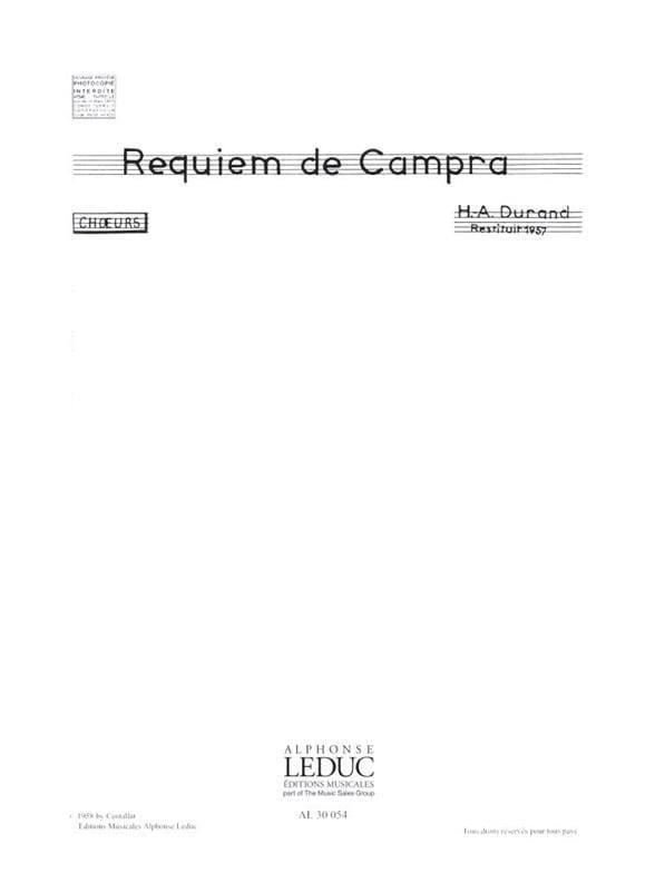 André Campra - Requiem. Chorus alone - Partition - di-arezzo.co.uk