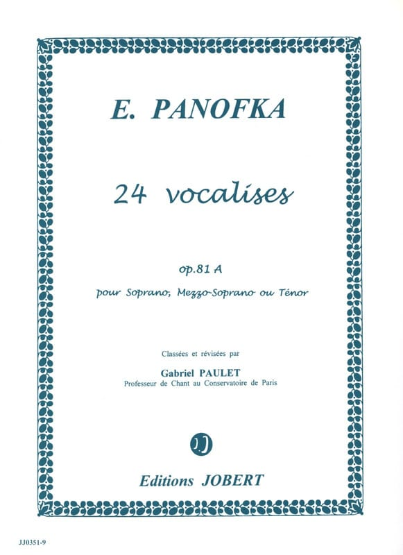 Heinrich Panofka - 24 Progressive Vocalises, Opus 81a Volume 1 - Partition - di-arezzo.co.uk