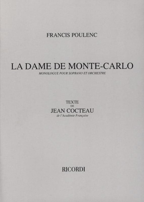 Francis Poulenc - The Lady of Monte Carlo - Partition - di-arezzo.co.uk