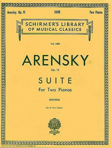 Anton Arensky - Suite Opus 15 2 Pianos - Partition - di-arezzo.co.uk