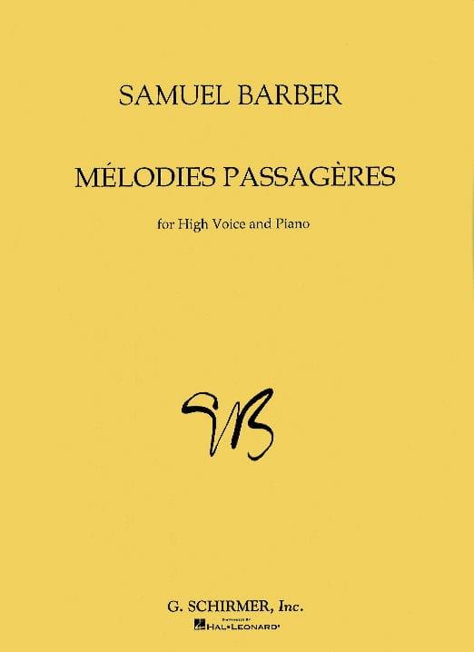 Mélodies Passagères Opus 27. Voix Haute - BARBER - laflutedepan.com