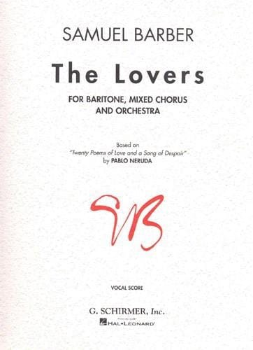 Samuel Barber - The Lovers - Partition - di-arezzo.co.uk