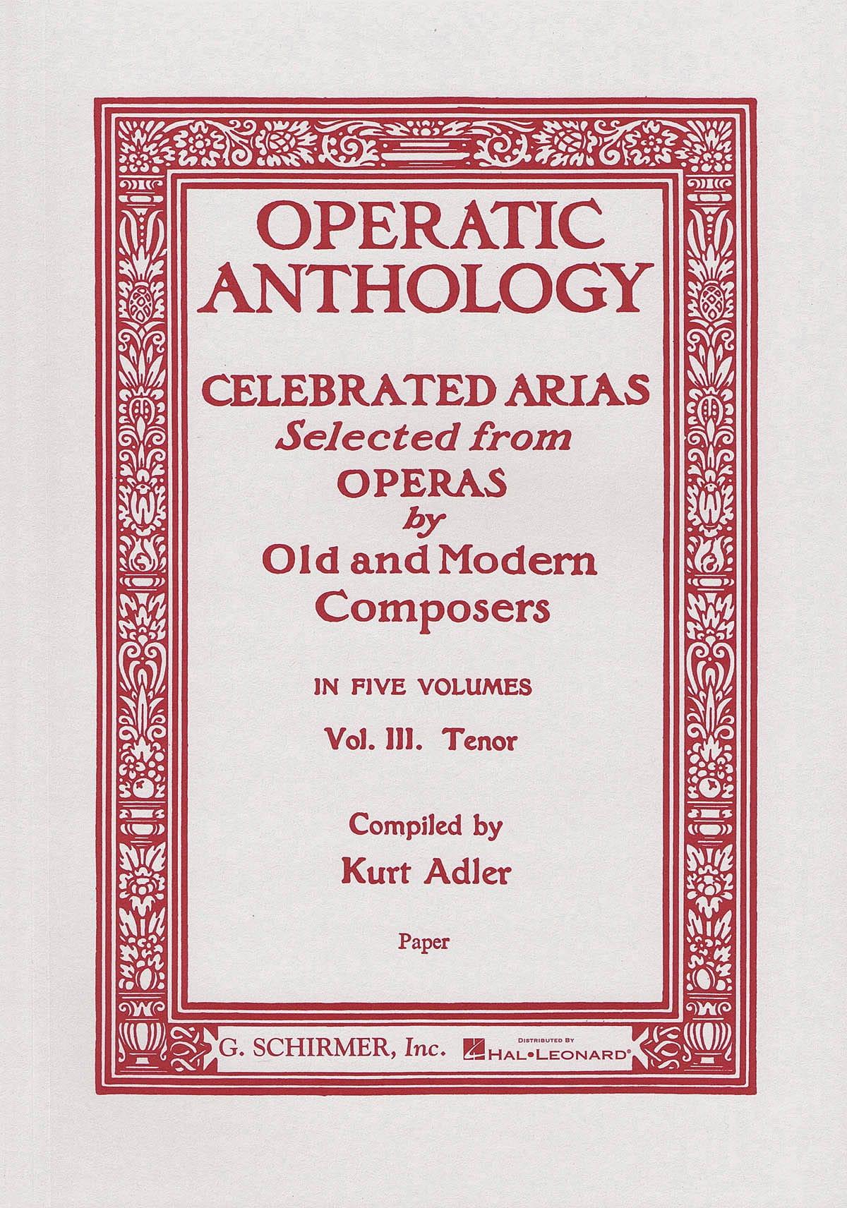 Operatic Anthology Volume 3 Tenor - Partition - laflutedepan.com