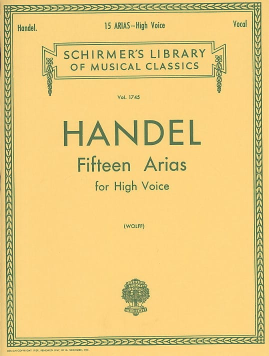 HAENDEL - 15 Arias. Aloud - Partition - di-arezzo.co.uk