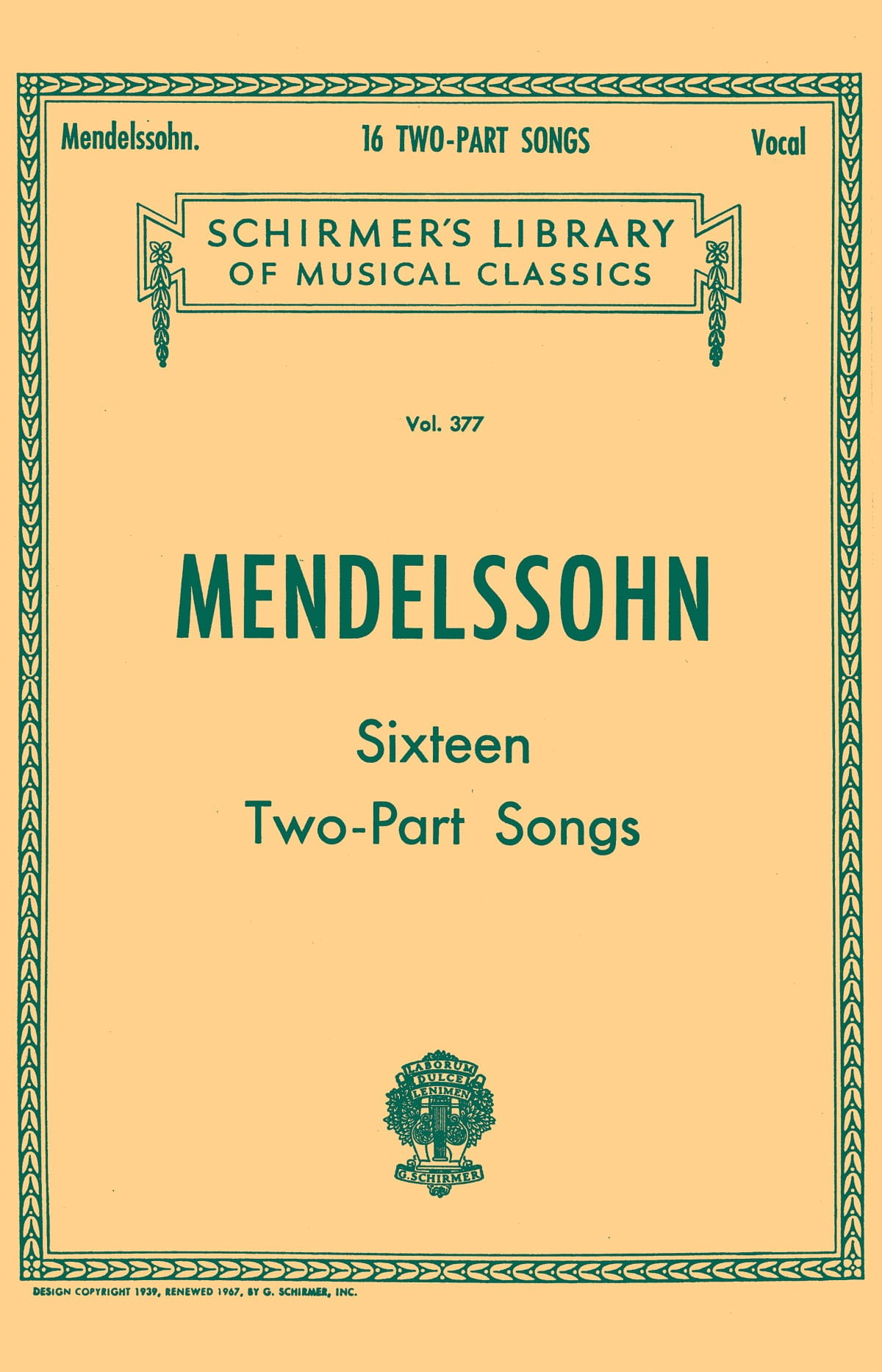 MENDELSSOHN - 16 Two Parts Songs - Partition - di-arezzo.fr