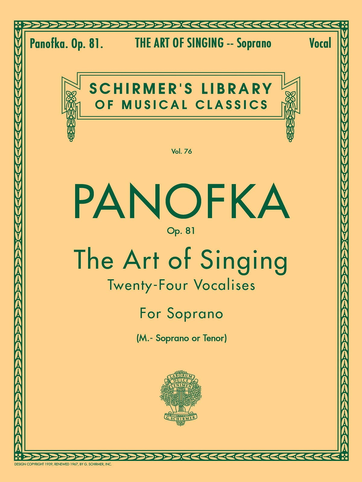 Heinrich Panofka - Art Of Singing Op. 81 Mezzo Or Tenor - Partition - di-arezzo.co.uk