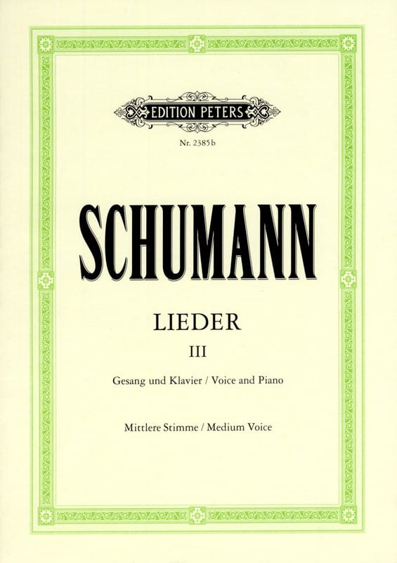 SCHUMANN - Lieder Volume 3. Average Voice - Partition - di-arezzo.com