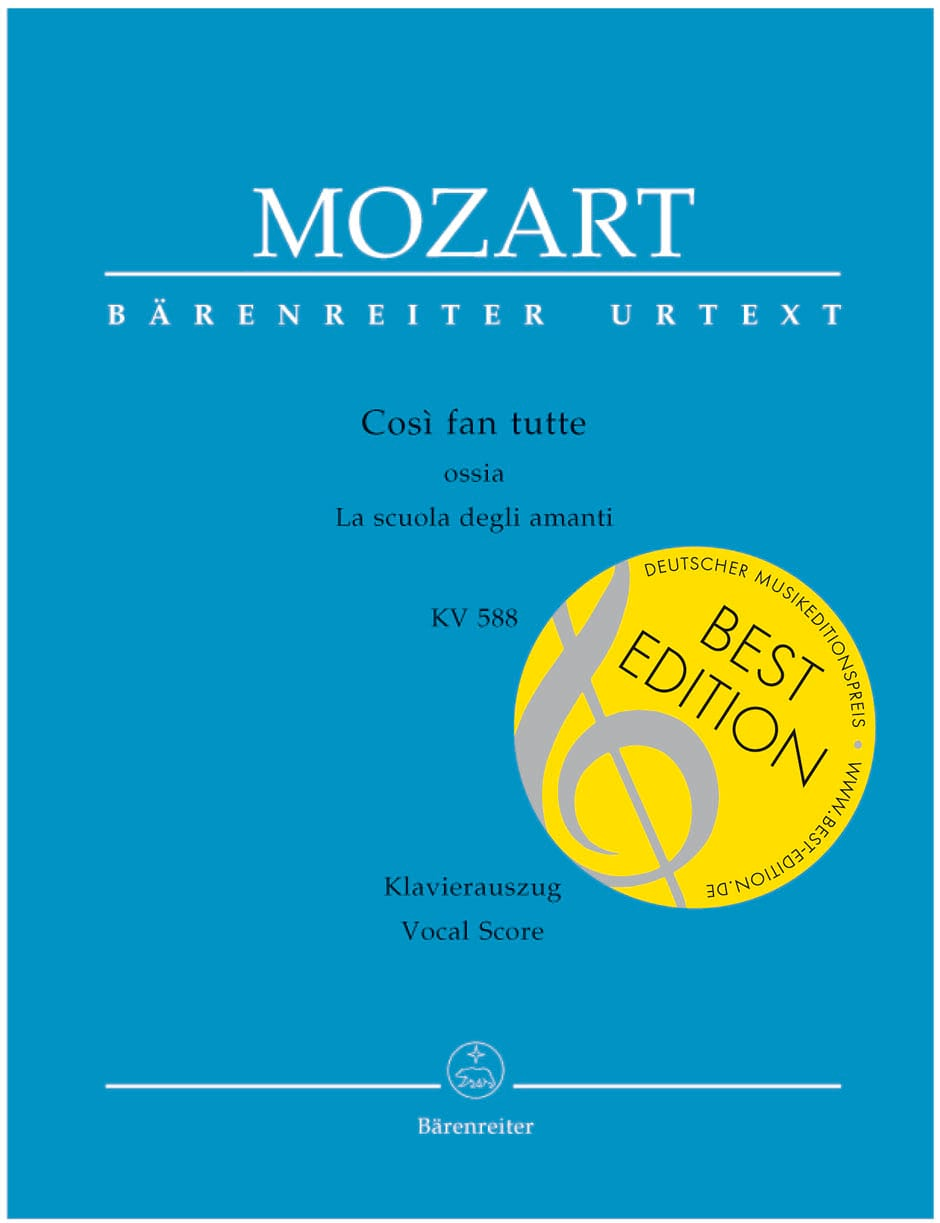 MOZART - Così Fan Tutte - Partition - di-arezzo.it