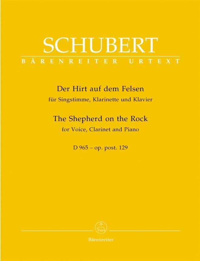 SCHUBERT - Der Hirt Auf Dem Felsen. D 965. Opus Posth 129 - Partition - di-arezzo.co.uk