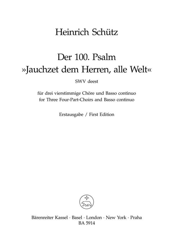 Jauchzet dem Herren, alle Welt - Psalm 100 - SCHUTZ - laflutedepan.com