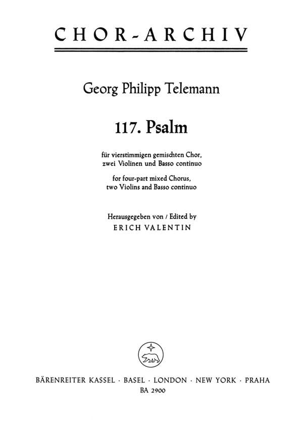 TELEMANN - Psalm 117. Laudate Jehovam - Partition - di-arezzo.co.uk