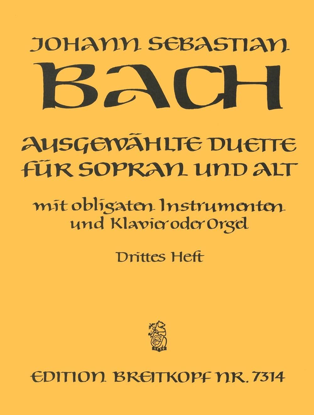 BACH - Ausgewählte Duet Sopran y Alt Volume 3 - Partition - di-arezzo.es
