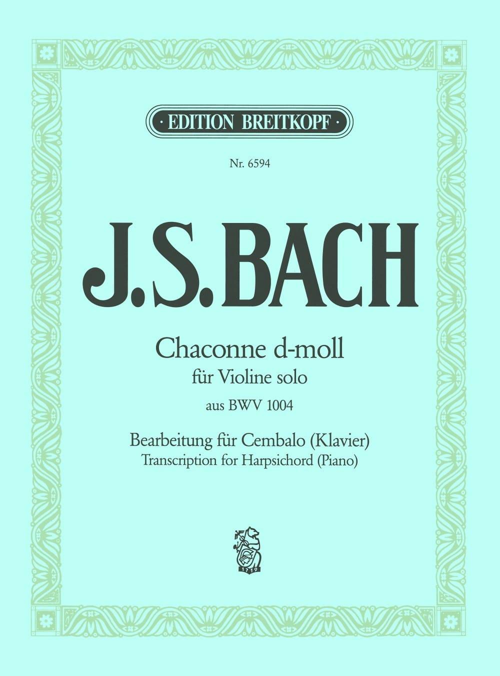 Chaconne Ré mineur BWV 1004 - BACH - Partition - laflutedepan.com