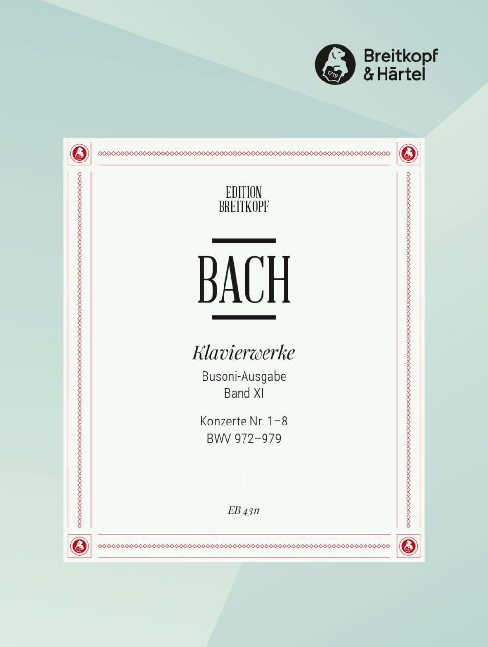 BACH / BUSONI - Konzerte Von Verschiedenen Meistern 1-8. Volume 11 - Partition - di-arezzo.com