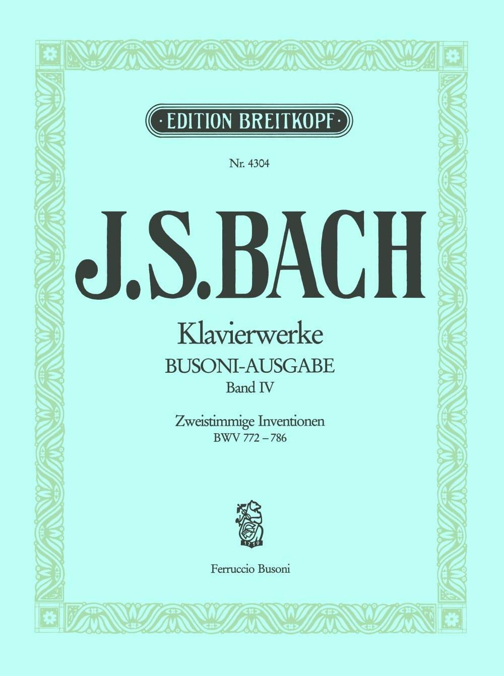Bach Jean-Sébastien / Busoni Ferruccio - Zweistimmige Inventionen. Volume 4 - Partition - di-arezzo.com