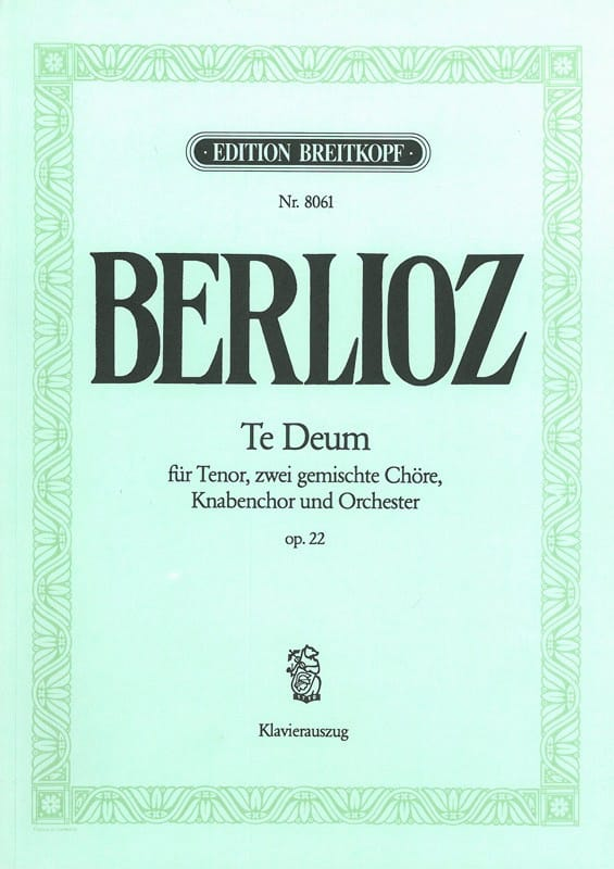 BERLIOZ - Te Deum Opus 22 - Partition - di-arezzo.co.uk