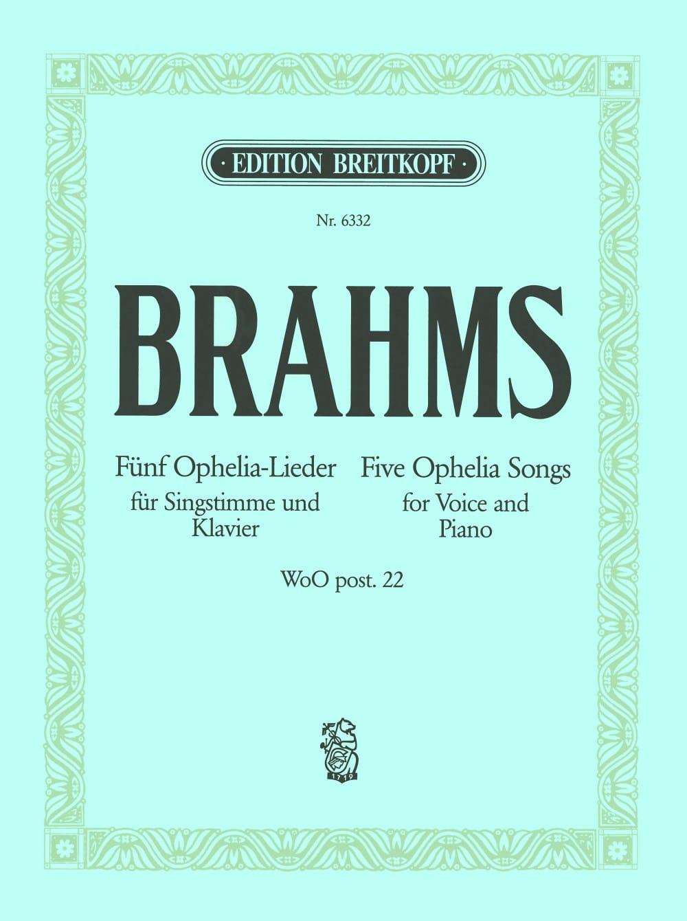5 Ophelia-Lieder - BRAHMS - Partition - Mélodies - laflutedepan.com