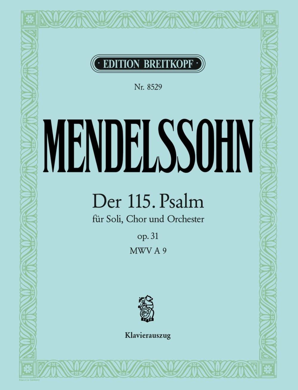 Psaume 115 Opus 31 - MENDELSSOHN - Partition - laflutedepan.com
