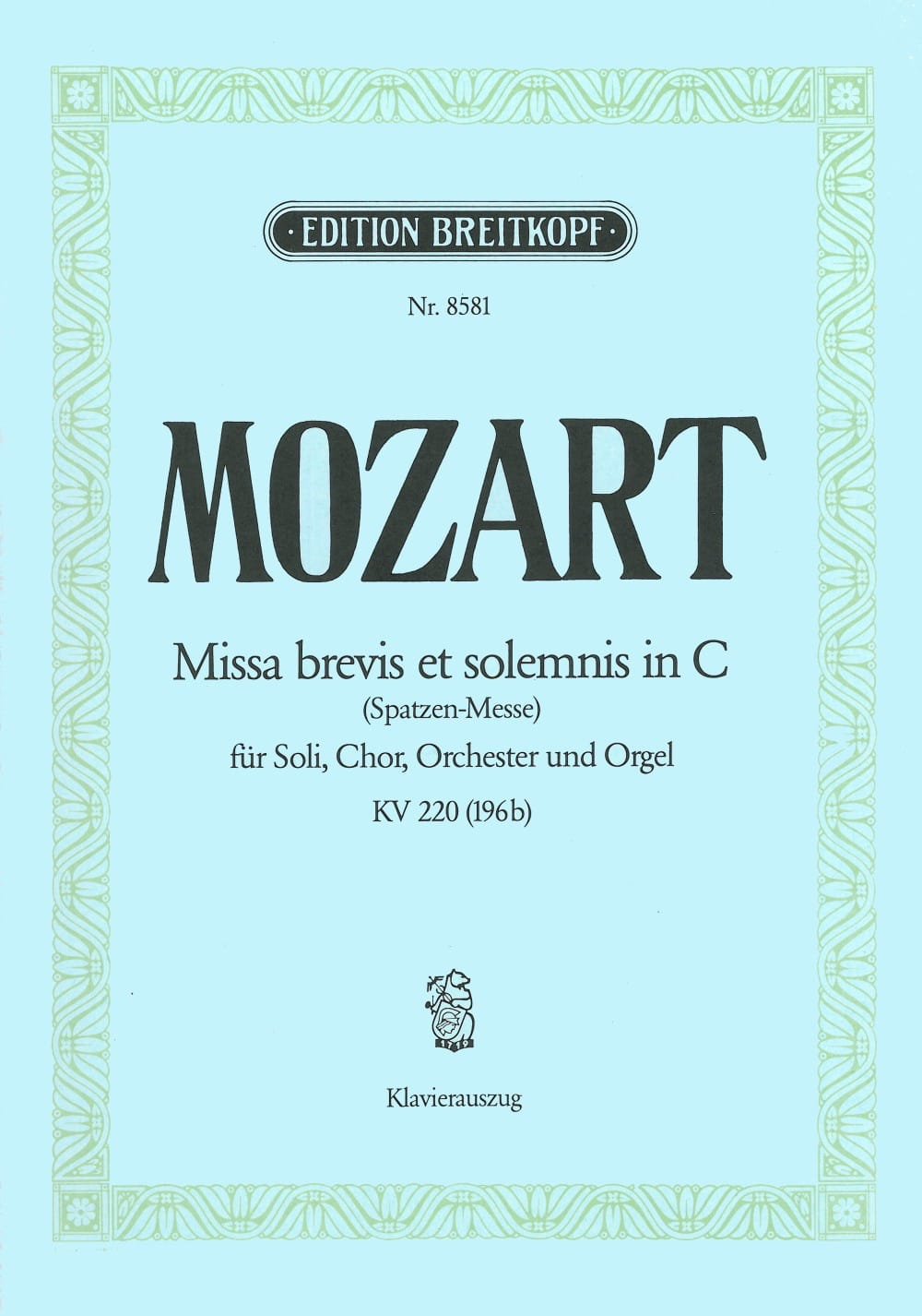 MOZART - Missa Brevis in C KV 220 196b - Partition - di-arezzo.co.uk