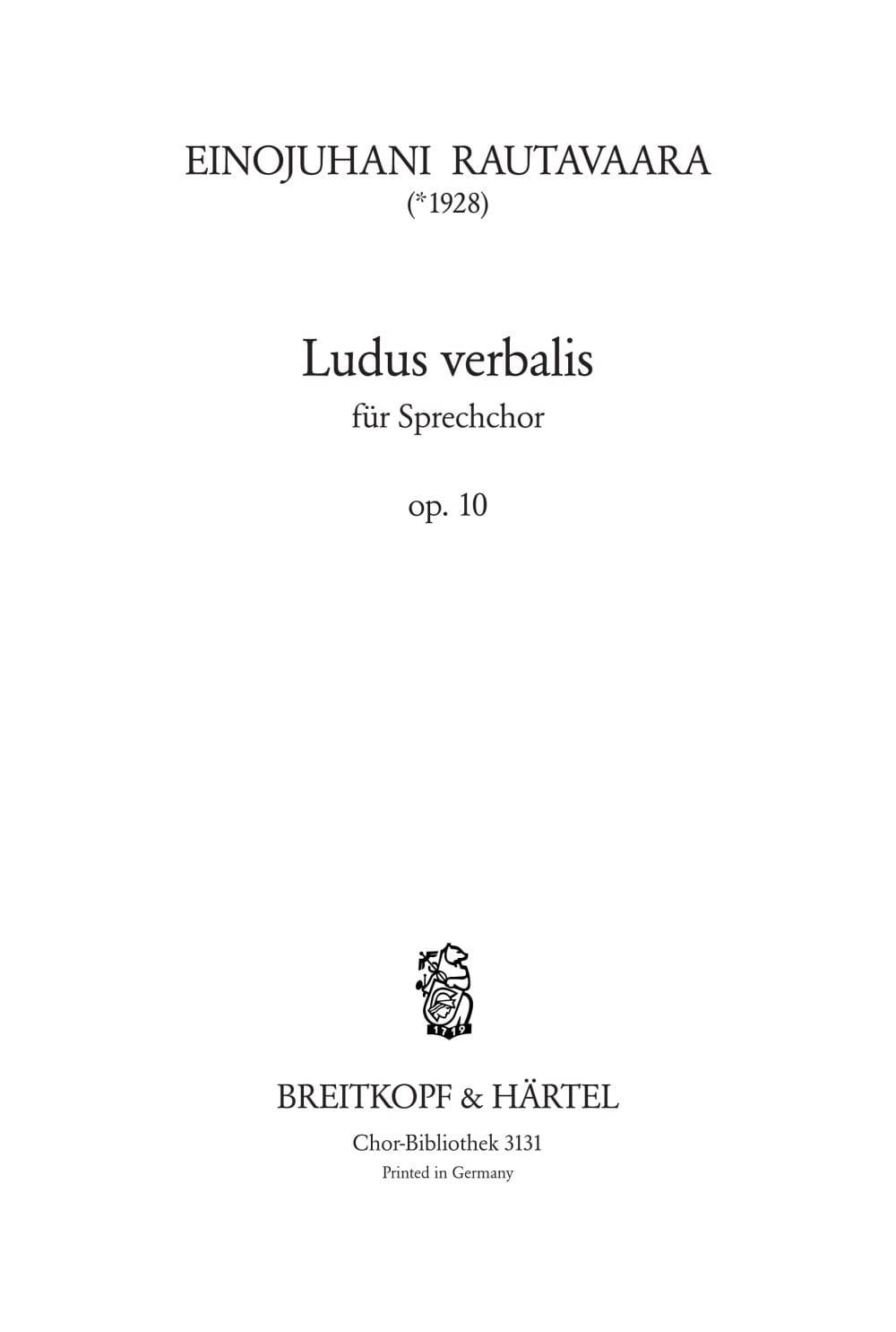 Einojuhani Rautavaara - Ludus Verbalis Opus 10 - Partition - di-arezzo.co.uk