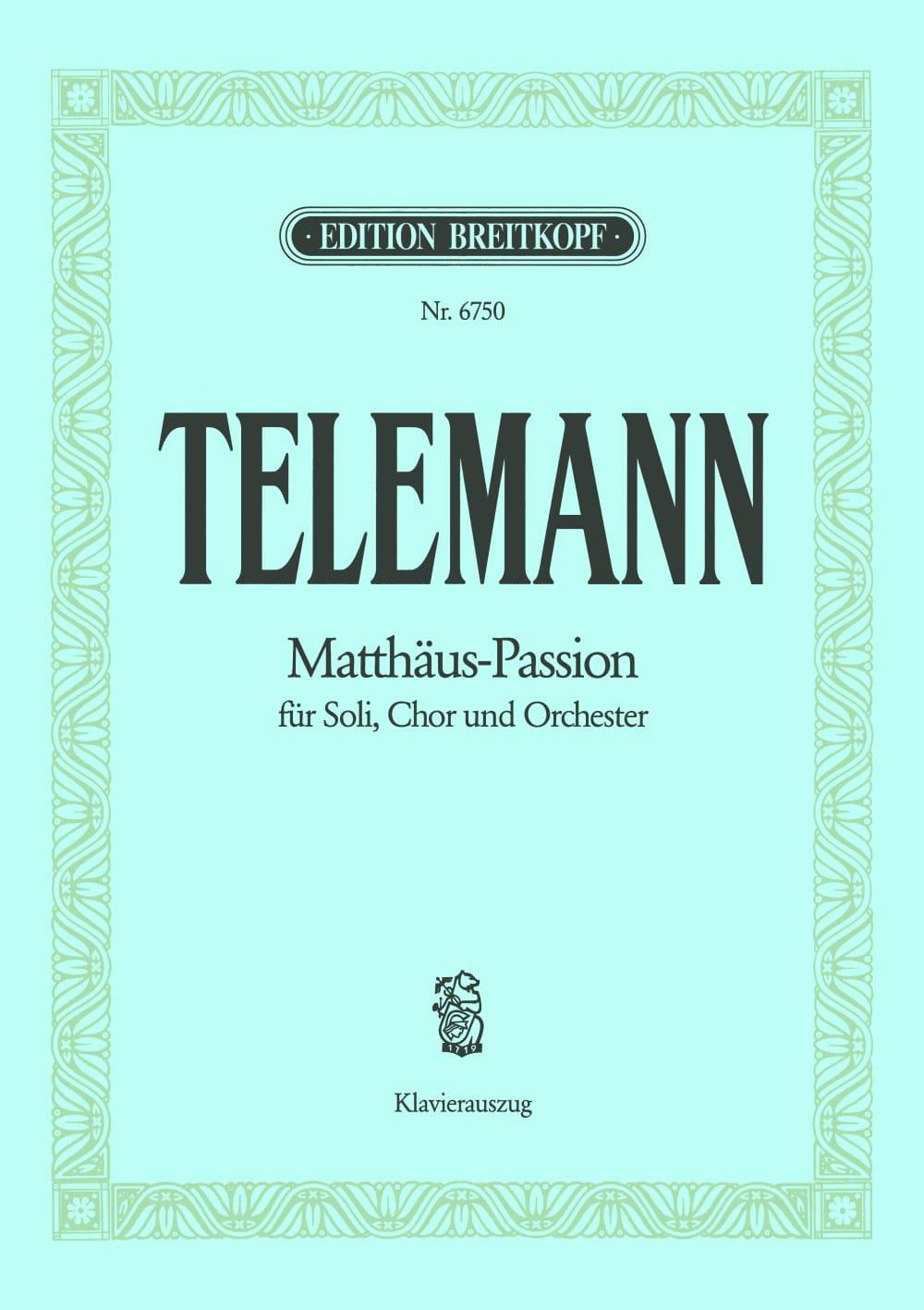 TELEMANN - Matthäus-Passion - Passion According to Saint-Mathieu - Partition - di-arezzo.co.uk