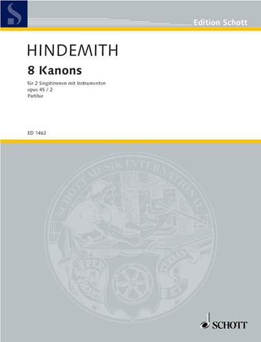 8 Canons, Opus 45-2 - HINDEMITH - Partition - Chœur - laflutedepan.com