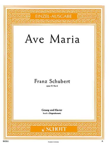SCHUBERT - Ave Maria. Opus 52-6. Voix Haute - Partition - di-arezzo.fr