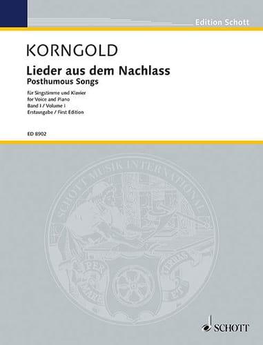 Lieder Aus Dem Nachlass Volume 1. - KORNGOLD - laflutedepan.com