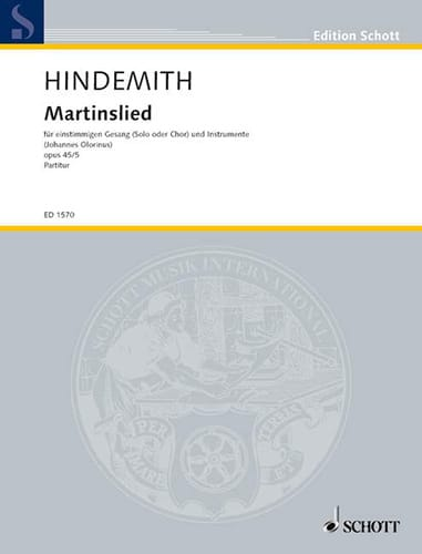 Martinslied Op. 45-5 - HINDEMITH - Partition - laflutedepan.com
