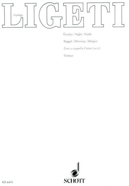 György Ligeti - Ejszaka / Reggel Nacht / Morgen - Partition - di-arezzo.fr