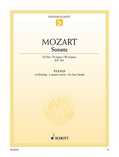 MOZART - Sonata D Major KV 381. 4 Hands - Partition - di-arezzo.co.uk