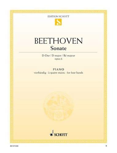 Sonate Ré Majeur Opus 6. 4 Mains - BEETHOVEN - laflutedepan.com