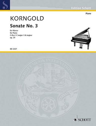 Sonate N°3 Op. 25 - KORNGOLD - Partition - Piano - laflutedepan.com