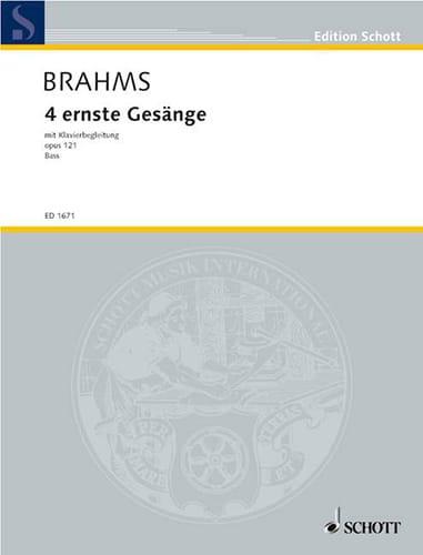 BRAHMS - 4 Ernste Gesänge, Opus 121. Serious Voice - Partition - di-arezzo.com