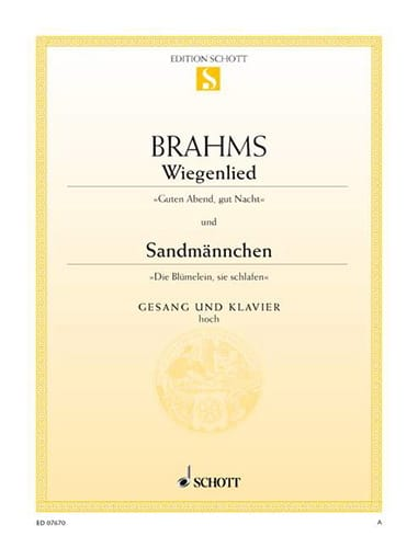 BRAHMS - Wiegenlied Opus 49-4 - Sandmännchen Opus 49-1. Aloud - Partition - di-arezzo.co.uk