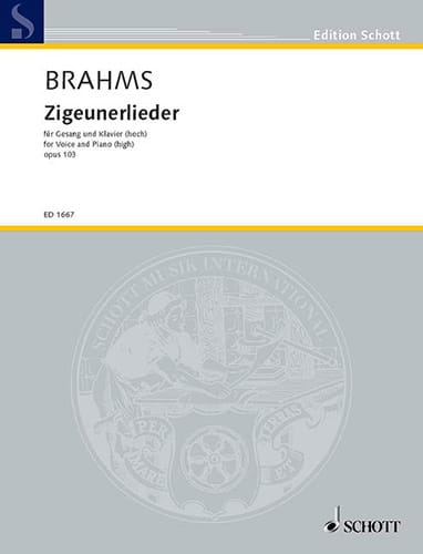 BRAHMS - 8 Zigeunerlieder Opus 103. High Voice - Partition - di-arezzo.co.uk