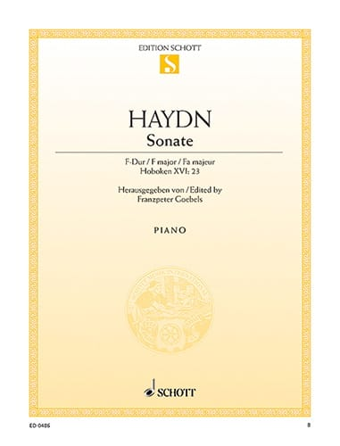 HAYDN - Piano Sonata in F major Hob. 16-23 - Partition - di-arezzo.co.uk