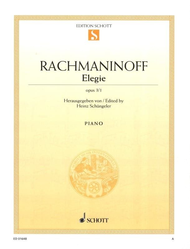 RACHMANINOV - Elegy Opus 3-1 - Partition - di-arezzo.co.uk