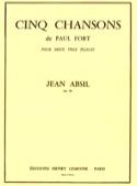 5 Chansons de P. Fort Opus 18 Jean Absil Partition laflutedepan.com