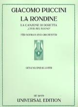 la Canzone Di Doretta. La Rondine Giacomo Puccini laflutedepan.com