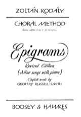 Choral Method Vol 13/1. Epigrams - Zoltan Kodaly - laflutedepan.com