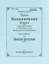 Roger Quilter - 3 Shakespeare Songs Opus 6. Voix Haute - Partition - di-arezzo.fr