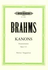 Kanons Opus 113 BRAHMS Partition Chœur - laflutedepan.com
