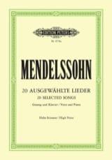 MENDELSSOHN - 20 Ausgewählte Lieder. Voix Haute - Partition - di-arezzo.fr