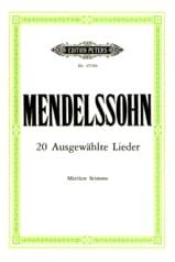 MENDELSSOHN - 20 Ausgewählte Lieder Voix Moyenne - Partition - di-arezzo.fr