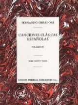 Fernando Obradors - Canciones Clasicas Españolas Volume 4 - Partition - di-arezzo.fr
