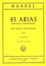 45 Arias Volume 3. Voix Grave HAENDEL Partition laflutedepan.com