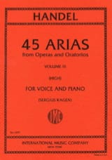 Georg-Friedrich Haendel - 45 Arias Volume 3. Voix Haute - Partition - di-arezzo.fr